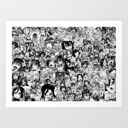 Ahegao hentai faces Art Print