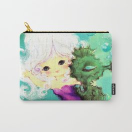 Mermaid waving from Seahorse Carry-All Pouch