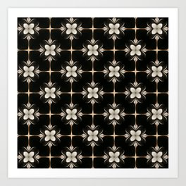 White and Black Floral Pattern Art Print