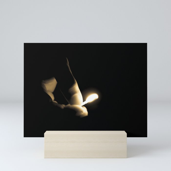 Photograph Sepia Tone Hand and Fingers with Lit Fire Match Mini Art Print