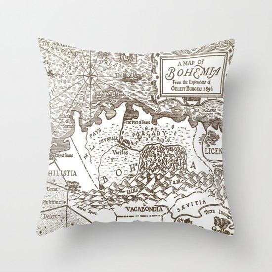 Map of Bohemia Throw Pillow
