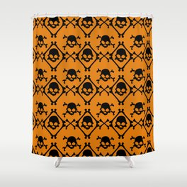 Halloween orange black geometrical skull bones pattern Shower Curtain