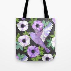 Purple Paper Anemone Collage Tote Bag