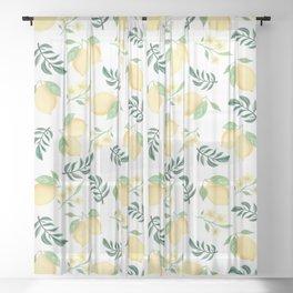 Zesty Lemons Pattern Sheer Curtain