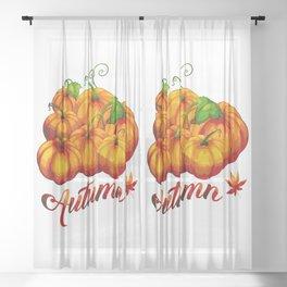 AUTUMN PUMPKIN HARVEST Sheer Curtain