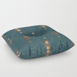 Copper Art Deco on Emerald Floor Pillow