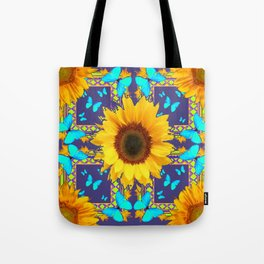 Turquoise Butterflies & Yellow Sunflower Puce-Grey Art Tote Bag