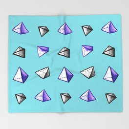 Blue Geometric Watercolor Pyramid Pattern Throw Blanket