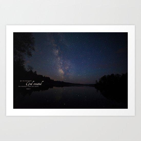 Milky Way over the Lake Art Print