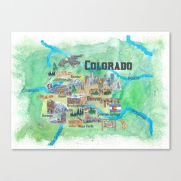 USA Colorado State Travel Poster Illustrated Art Map Canvas Print