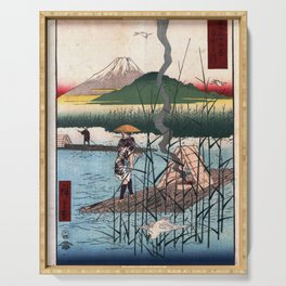 Hiroshige - 36 Views of Mount Fuji (1858) - 18: The Sagami River Serving Tray