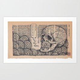 Book Page Art: I Love You Skull Art Print