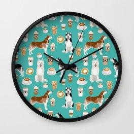 Husky siberian huskies coffee cute dog art drinks latte dogs pet portrait pattern Wall Clock