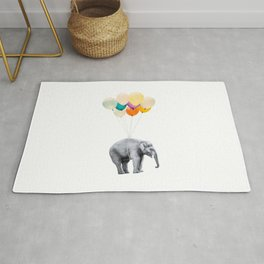 Dreaming Elephant Flying, Animal Zoo Nursery Photo, Large Printable Birthday Party Wall Art, Ballons Rug