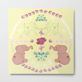 Baby Elephant Folk Art In Yellows And Pinks Metal Print