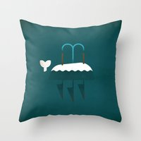 moby dick Throw Pillows featuring Moby Dick by Christian Jackson