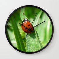 ladybug Wall Clocks featuring Ladybug by MehrFarbeimLeben