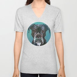 Sable the Black Boxer Dog Unisex V-Neck