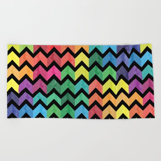 Watercolor Chevron Pattern V Beach Towel