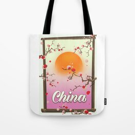 China Blossom tree sunset Tote Bag