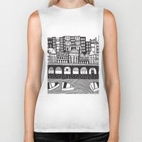 england Biker Tanks featuring Brighton, England by Caroline Rees