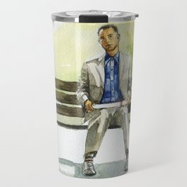 Forrest Gump (Tom Hanks) sitting on a bench with a flying feather Travel Mug