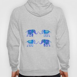 HAPPY ELEPHANTS - WATERCOLOR BLUE PALETTE Hoody