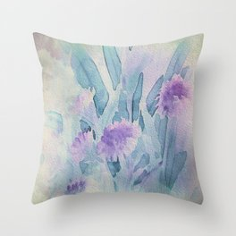 Heavenly Lavender Water Color Floral Throw Pillow