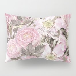 Floral Vintage painterly background in pink with Roses Flowers and insect Pillow Sham