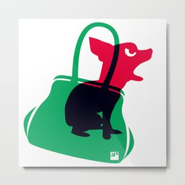 Angry animals: chihuahua - little green bag Metal Print
