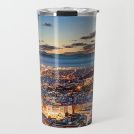 Athens after sunset with a view of the Parthenon on the Acropolis, the Parliament and the Saronic islands in Greece Travel Mug