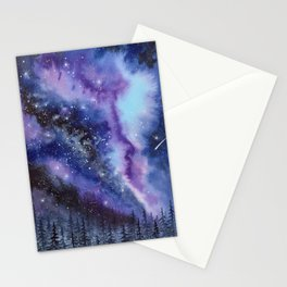 Purple & Blue watercolor galaxy landscape painting Stationery Cards