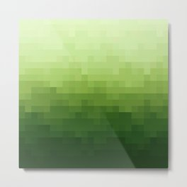Gradient Pixel Green Metal Print