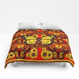 COFFEE BROWN MONARCH BUTTERFLY SUNFLOWERS Comforters