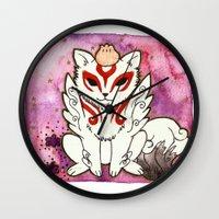 okami Wall Clocks featuring Amaterasu from Okami 02 by Jazmine Phillips