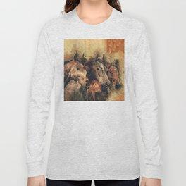 Galloping Wild Mustang Horses Long Sleeve T-shirt