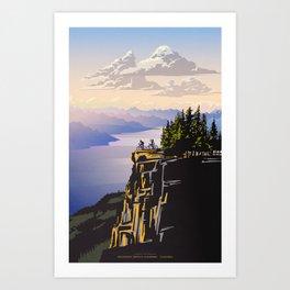 Retro travel BC poster Art Print