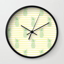 Pineapple & Stripes Pattern - Green / Yellow Wall Clock