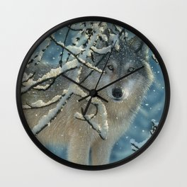 Wolf in Snow - Broken Silence Wall Clock