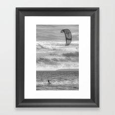 Kite Surfer B&W Framed Art Print