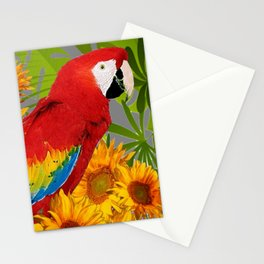 JUNGLE ART RED-BLUE MACAW PARROT & SUNFLOWERS Stationery Cards