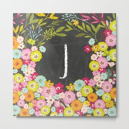 J botanical monogram. Letter initial with colorful flowers on a chalkboard background Metal Print