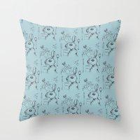 indie Throw Pillows featuring Indie Rabbit by AurorA