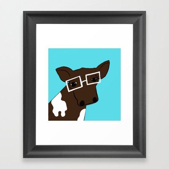 Hipster Cow Framed Art Print