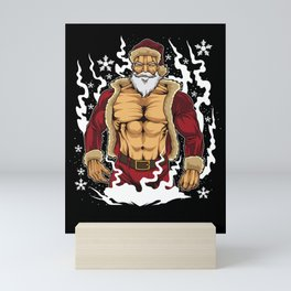 Bodybuilder Santa Claus - Fitness Christmas Xmas Mini Art Print