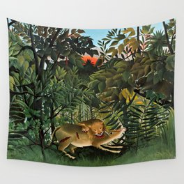 "Henri Rousseau ""A Lion Devouring its Prey"", 1905 Wall Tapestry"