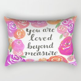 You Are Loved Beyond Measure Purple and Fucshia Roses Rectangular Pillow