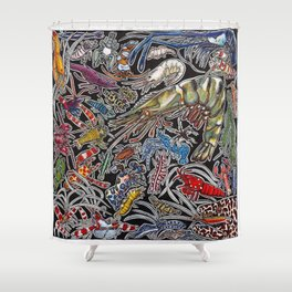Prawns, gambas and shrimps for ocean lovers, marine biologists and scuba divers Shower Curtain
