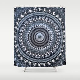 Winter accents on black and white mandala Shower Curtain