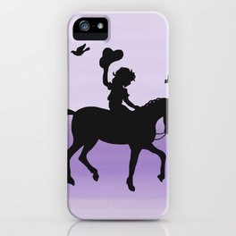 Girl and horse silhouette lavender iPhone Case